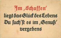 c1910 Arts & Crafts German Motto Saying Creation lies glow Life Smile Postcard