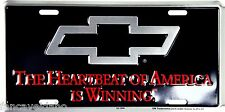 """Chevy Heartbeat is Winning 12"""" x 6"""" Embossed Metal License Plate Tag"""
