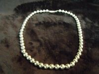 "VINTAGE ITALY 925 STERLING 16"" 7MM BEADS CHOKER 33 GRAMS"