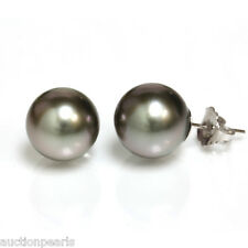 Tahitian Pearl Stud Earrings  AAA Flawless  10mm Dark Gray 14kt  Gold