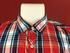 Buffalo David Bitton Spelled Out Plaid #72 Short Sleeve Shirt Mens Large