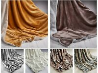 Soft Rabbit Faux Fur Throw Blanket Bedspread for Bed Sofa Double 150 x 200 cm