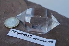 Bergkristall Doppelender X01 geschliffen poliert ca.6,4cm/ 90,2g  Brasilien
