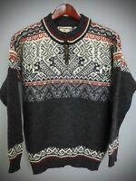 XBM457 Men Dale Of Norway Nordic Norwegian Winter Wool Zip Neck Jumper Size L