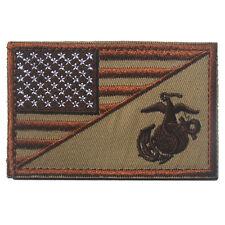 AMERICAN USA FLAG MARINE CORPS USMC DESERT TACTICAL MORALE HOOK FASTENER PATCH