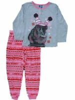 Jellifish Kids Girls Gray & Pink Pajamas PJs Bunny Pajama 2 Piece Sleep Set