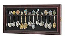 12 Souvenir Spoons Shadow Box Cabinet Rack Wall Display Case (SP12-MAH)