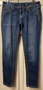 MISS ME Skinny BLUE Medium Wash Embellished Flap Pocket Jeans Size 30 (31x33)