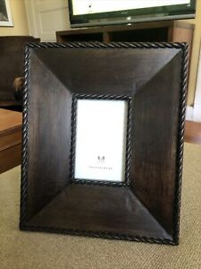 """Pottery Barn Brown Wooden Frame, Walnut 4"""" x 6"""", Lightly Distressed, GUC"""