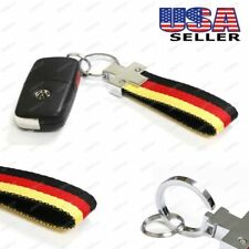 Euro Germany Flag Stripe Nylon Band w/ Inner Leather Key Fob Chain Keychain Ring