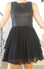 Warehouse Real LeatherBlack Top Dress Ruffle Skirt M Medium L US 8 10 UK 14 12