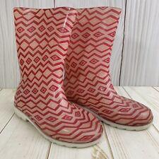 Toms Girls Pink Chevron Pvc Rubber Rain Boots. Size 2.