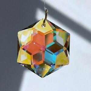 Swarovski 26mm Star Hexagon Crystal Clear AB coated Pendant Prism w Logo