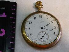 Elgin Pocket Watch DOESN'T WORK-BENT HAND-NO CRYSTAL-MISSING HANGER