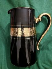 More details for gibson & sons late sevres davenport milk water jug black and gold 14.5cm tall