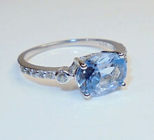 Sterling Silver Light Blue Topaz CZ Accent Ring SZ 7.25 Signed NVC