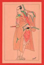 Dessin encre de chine & aquarelle Japon Hand made china ink signé Geneviève n24