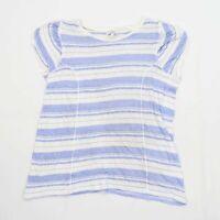 Next Womens Size 20 Striped Linen Blend Blue T-Shirt (Regular)