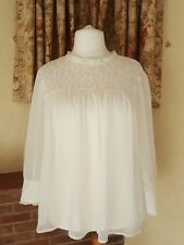 LADIES CREAM SHEER LACE YOKE POET TOP  FROM NEXT SIZE 18 20 - NEW - SUMMER