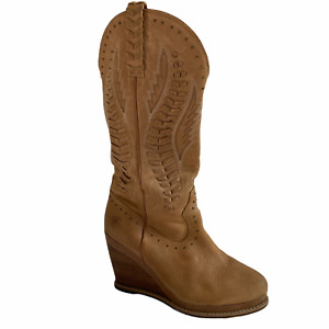 Ariat Wedge Womens 9.5 Tall Boot Brown Leather Carved Tasseled Embellished