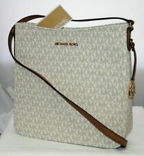 NEW MICHAEL KORS JET SET TRAVEL LARGE MESSENGER CROSSBODY MK SIGNATURE VANILLA