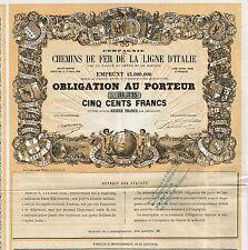 ITALY THE ITALIAN RAILWAY LINE stock certificate 1857