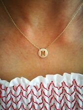 "Initial Pendant Necklace, Diamond Halo Necklace,18""Chain 14K White/Yellow Gold"