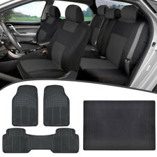 Universal Car Seat Covers + Heavy Duty Rubber Floor Mats + Cargo Liner Charcoal