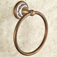 Round Antique Brass Bath Towel Ring Rack Hanger Bathroom Hardware Accessories