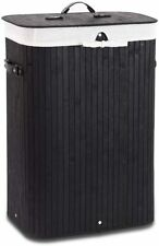 Portable Bamboo Laundry Hamper with Liner Bag and Handle Storage Clothes Bin