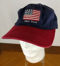 VTG 90s Polo Ralph Lauren Adjustable Hat American Flag USA Ball Cap Red Blue