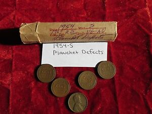 1954 S Lincoln Cent Roll Error coins Planchet Defects 50 Circulated Cents