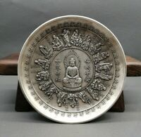 Collect noble Decor silver copper carved 18 arhats monk buddha statue plate