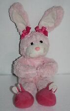 "Animal Adventure Pink Plush Easter Bunny Rabbit 13"" Slipper Feet Bows Soft Toy"