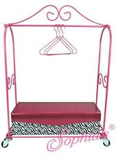 """Hot Pink Rolling Rack Hotel Luggage Cart Suite Life for 18"""" American Girl Dolls"""