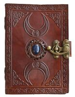 Leather Journal Third Eye Stone Triple Moon Brown Celtic Sketchbook Writing 7x5