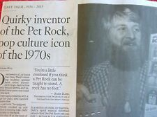 1936-2015 GARY DAHL OBITUARY QUIRKY INVENTOR OF PET ROCK POP CULTURE ICON 1970s