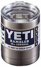 NEW YETI RAMBLER 10 OZ STAINLESS STEEL W/ LID CUP TUMBLER MUG LOWBALL SILVER