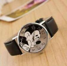 Cartoon Mickey Mouse Leather Wrist Watch Lady Girl Women Teens Kids Watche Black