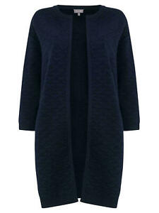 Mid-Length Phase Eight Luisa Textured Knitted Coat Navy Size-M RRP £99