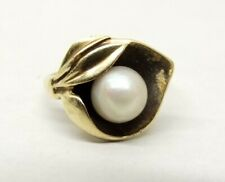 Vtg 10K Gold Cultured Pearl Ring Sz 4.5 Calla Lily Flower Floral Setting Dainty