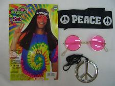 Hippie Set Kit Headband Pendant Glasses Costume 60's 70's Fancy Dress Up Party