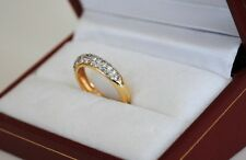 14 kt Yellow Gold Diamond Ring /Band Pave setting / Round Cut / Twd 0.92 ct