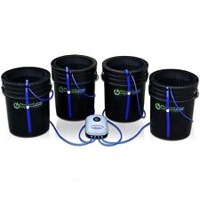 "Deep Water Culture System Hydroponic 4 Bucket Kit - 10"" Lids by PowerGrow"