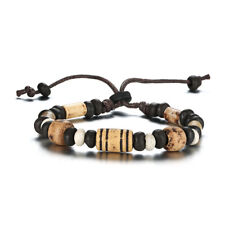 Retro Wood Beads Charm Bracelet Men Jewelry Wristbands Bracelets Size Adjustable