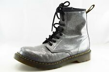 Dr. Martens Boot Sz 6 M Paddock Round Toe Silver Patent Leather Women
