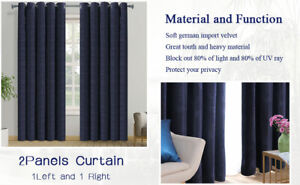 PANOVOUS Natural Crushed Velvet Pair of Chenille Curtains Ring Top Eyelet Curtai