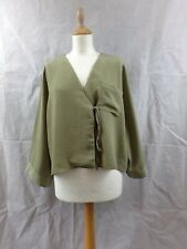 Topshop Women's Tie Side Wrap Blouse Khaki Kimono Sleeve Plunge Neck Top Size 16