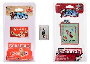 World's Smallest - Scrabble - Monopoly -  Bonus Mini Playing Cards - Set of 3