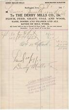 1911 Invoice The Derby Mills Co. Flour, Feed, Grain, Coal & Wood Burlington, Ia.